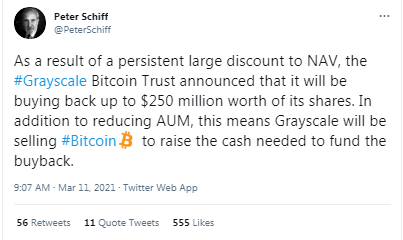 Peter Schiff Claims Grayscale Will Sell BTC to Fund DCG's Acquisition of GBTC Shares Rebuffed – Markets and Prices Bitcoin News