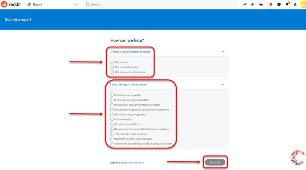 How to report a subreddit?